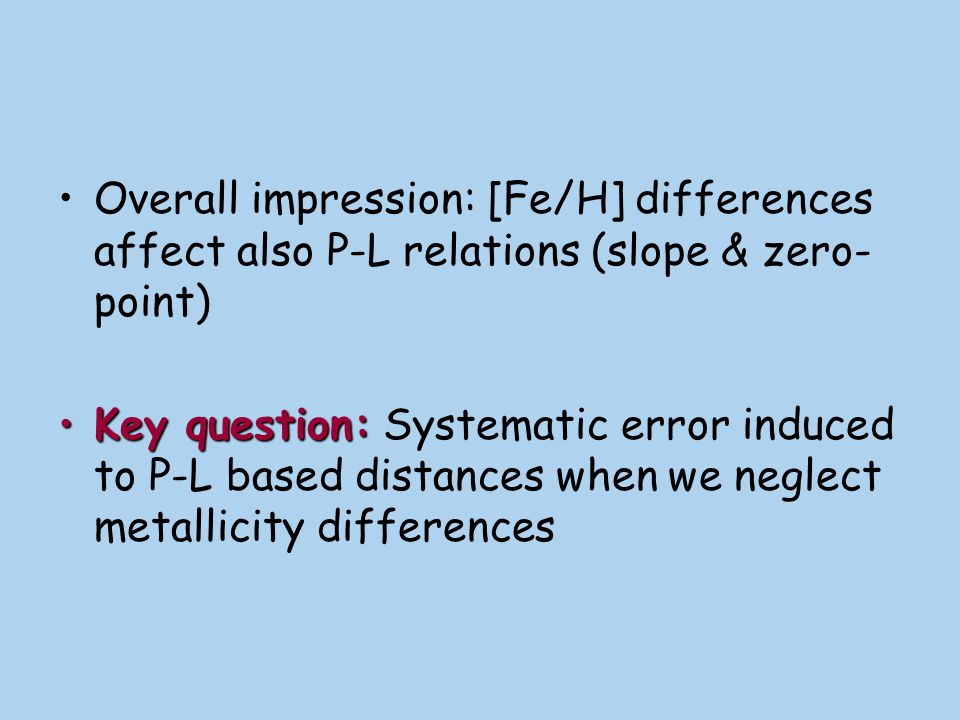 Overall impression: [Fe/H] differences affect also P-L relations (slope & zero-point)